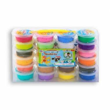 24x gekleurde klei potjes 20 gram creatief speelgoed voor kinderen
