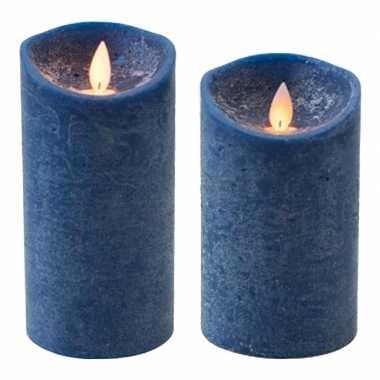 Set van 2x stuks donkerblauwe led kaarsen met bewegende vlam