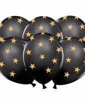 12x zwarte kerst feestballonnen met gouden sterretjes