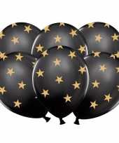 18x zwarte kerst feestballonnen met gouden sterretjes