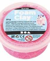 Roze foam glitter klei 35 gram